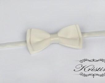 Mens Ivory Bow Tie - Satin  Bow Tie - Handmade groom bow tie