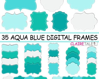 digital clipart labels aqua blue frames clipart frames labels tags for scrapbooking cards invitation stationary albums
