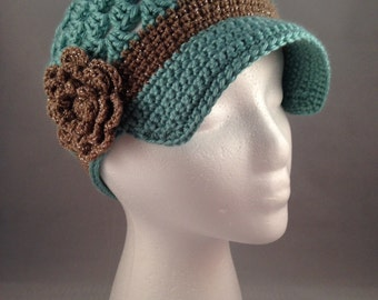 Women's Custom Brimmed Beanie with Flower - You Pick the Colors