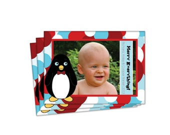 Customizable Penguin Holiday Card