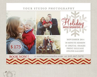 Holiday Mini Session Template - Photography Marketing Board 067 - C220, INSTANT DOWNLOAD