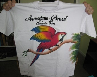 painted t shirt,nice,very colorful  on cotton fabric ,made in brazil