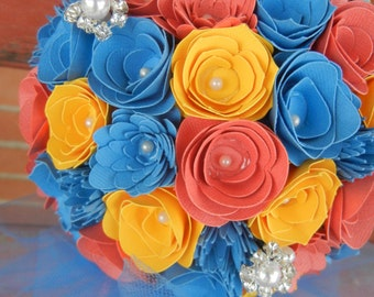 Large Handmade Paper Wedding Bouquet Salmon, Cornflower Blue, and Yellow Bride or Bridesmaids Bouquet FREE Boutonniere