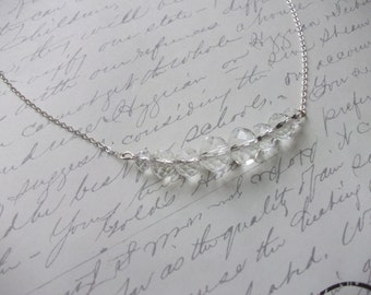 Clear crystal bar necklace on silver chain