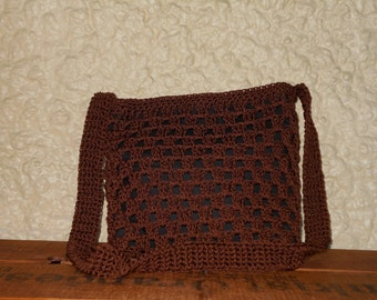 Chocolate Brown Cross Body Crocheted Nylon Purse