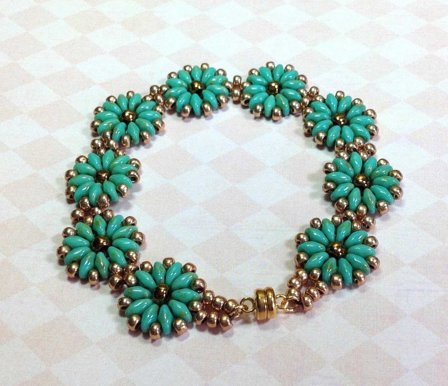 super duo medallion bracelet turquoise beaded bracelet. Black Bedroom Furniture Sets. Home Design Ideas