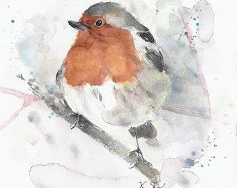 SALE 60% Was 57.00 Original watercolor art bird robyn 8x8 inches
