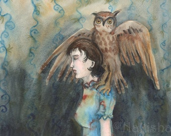 Girl with the Imaginary Owl - Original Watercolor Painting