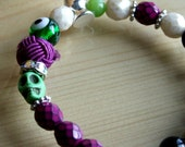 Zombie Bracelet with Gemstones and Czech Pearls - Purple, Black, Green - Good Eye