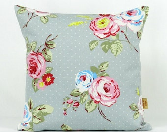 16x16, pillow, Throw Pillow Cover, Decorative throw pillow, English Rose, shabby chic, pillow cover, Floral pillow case, grey, pink, 16 inch
