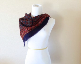 Blue and Red Vintage Scarf with Fringed Edge