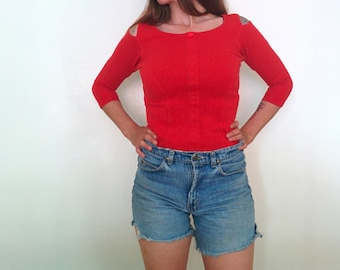 Vintage 1980s 90s Red Shoulder Cut Out Top