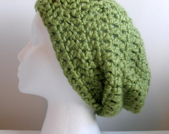 Green Slouchy Lime Green Slouchy Green Slouchy Hat Green Chunky Yarn Beanie Hat Hand Crocheted