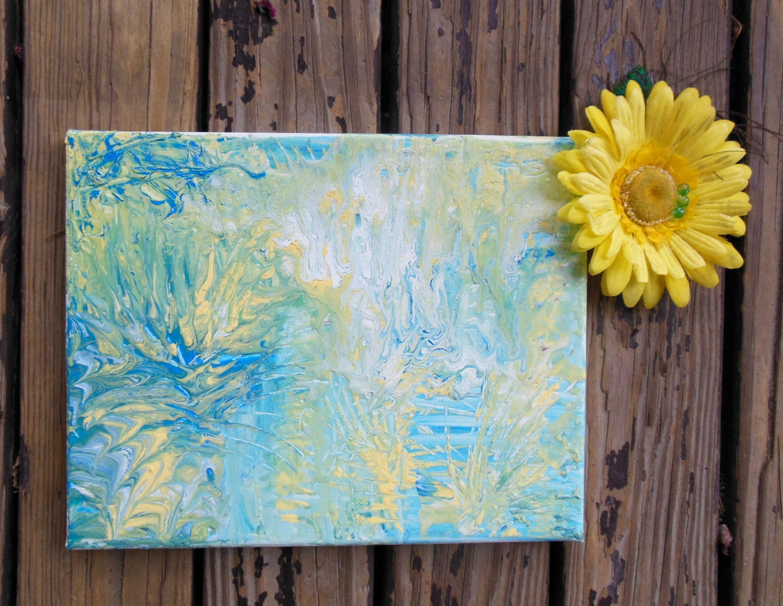 Lake House Decor Blue And Yellow 8x10 Canvas Art