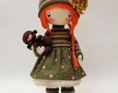 Doll Zooey with bear- brooch, cloth doll orange and green redhead doll