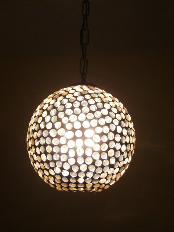White Stained Glass Ceiling Lamp Sphere Cabochon