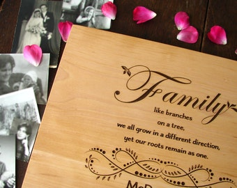 Custom Family Cutting Board Wedding Bridal Shower Gift Anniversary Holiday Present Family Reunion Present Father Mother of the Bride Gift
