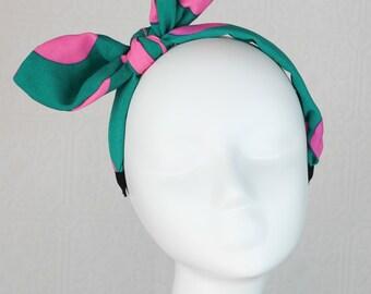 Large Bow Headband: Rabbit Ear Headband - Pink Green Headband - Polka Dot Headband - Chiffon Headband - Cute Headband