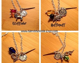 Harry Potter Necklace, Gryffindor Necklace, Slytherin Necklace, Ravenclaw Necklace, or Hufflepuff Necklace