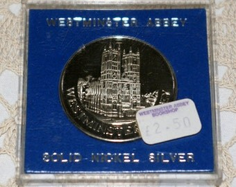 Vintage Westminster Abbey Solid Nickel Silver Ltd Edition Coin Medallion
