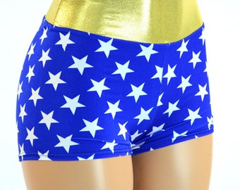 Blue and White Star Print High Waist Booty Shorts Costume Shorts -E8165