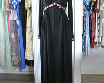 1960s Hippie Boho Bohemian Black Maxi Gown with Floral Embroidery Empire Waist/M