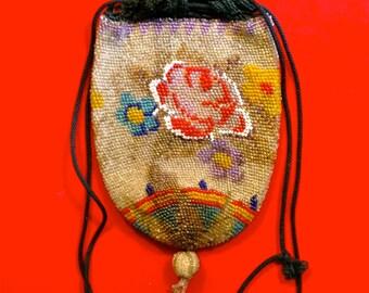 Vintage Floral Drawstring Beaded Bag, Knit Closure