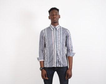 70s Vintage Polyester Shirt - 70s Disco Shirt - Mens Floral Shirt - Mens Button Up Shirts -  1735