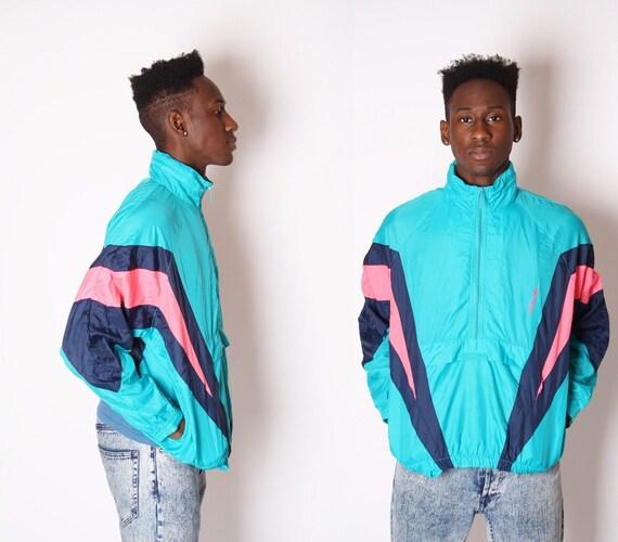 Adidas Windbreaker 1990s Neon Windbreaker Vintage Adidas