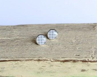 CLEARANCE SALE Gray post earrings. Plaid  stud resin earrings. Small round bezel earrings. Simple handmade jewelry.