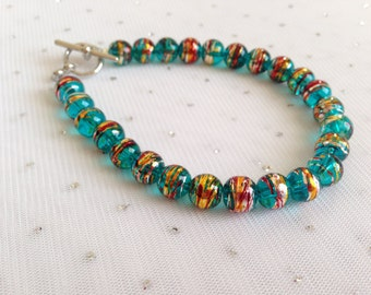 Teal and Gold Multicolored Bracelet, Teal Green Beaded Bracelet, Unique Glass Jewelry, Teal Beaded Jewelry, Unique Jewelry, Jewelry Gift