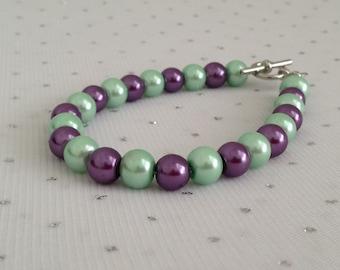 Purple and Mint Wedding Bracelet, Mint Pearl Bracelet, Purple and Mint Bridesmaid Jewelry, Pearl Bridal Jewelry, Purple Beaded Jewelry