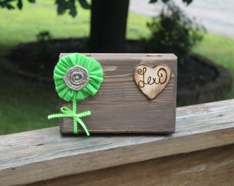 Bridesmaid Gift ONE Rustic Wood Box With Attached Heart With The Name Of Your Bridesmaid Wood Burned On & Felt Lined Bottom