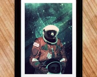 Lemur Astronaut Poster, A Madagascar Space Print