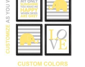 elephant nursery wall art, elephant baby nursery art, elephant baby room decor, elephant baby shower decor,you are my sunshine nursery decor
