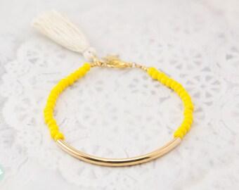 Gold tube bracelet, Beaded Bracelet, beaded bangle, tassel bracelet, Friendship bracelet, seed bead bracelet, seed beads bangle, yellow bead