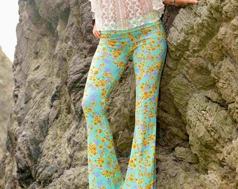 FLORAL PRINT 70's  seafoam green free people hippie boho dance beach resort yoga festival burning man gypsy fashion flare bell bottoms