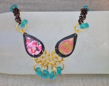 Diva Drops Necklace Choker (PUBLISHED) - Neon Pink Teal Blue Whimsy Gift Teenager Whimsical Summer 2014 Trends Campus Fashion OOAK Below 100
