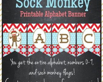 Sock Monkey Banner - Printable Alphabet - Instant Download