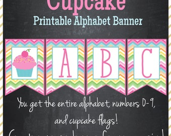 Chevron Cupcake Banner Printable Alphabet Banner - Instant Download