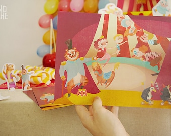 Placemat - Circus Birthday Party - circus printable decor - Instant Download - by Monopache