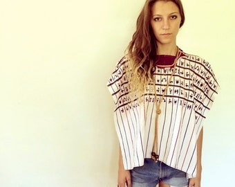 Tribal Huipil Poncho // vintage 70s white embroidered cotton dress Mexican striped top shirt ethnic boho hippie blouse handwoven // O/S