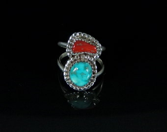 Sleeping Beauty Turquoise and Coral Ring Sterling Silver Handmade Size 7.75, R0398
