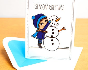 Christmas Card - Little Kevin Building a Snowman