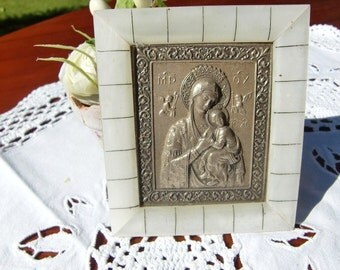 French vintage Holy Mary plaque with pewter Virgin holy mary  religious catholic