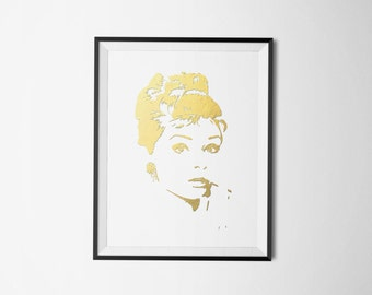 Audrey Hepburn Art, Audrey Hepburn Poster, gold foil art print, Wall art printable, bedroom art, wall art, bedroom decor, Audrey Hepburn art