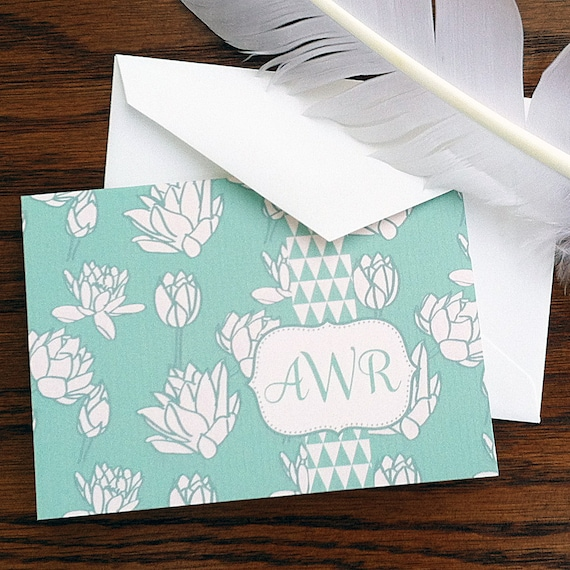 Monogram Stationery with Hand Drawn Floral Art Personalized Thank You Note 100% Cotton Savoy Paper -- Set of 12
