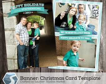 Christmas Card Template: Banner - 5x7 Photoshop Holiday Template for Photographers and Designers