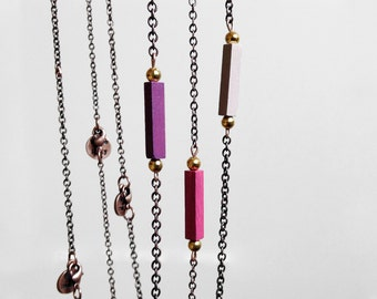 Stacking Necklaces // RADIANT ORCHID // Minimal Necklace / Geometric Necklace / Purple Hand-Painted Pendant / Modern Jewelry / Wood Necklace