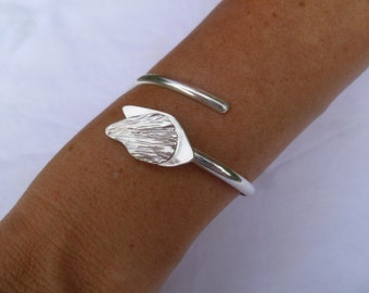 Sterling Silver Open Bangle Bracelet with Leaves